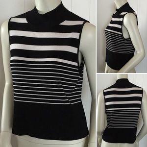 Emanuel striped knit sleeveless mock neck top